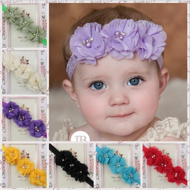 Baby Girl Elastic Headbands With 3 Hand sewing Chiffon Flowers Pearls Hair Accessories Good For Girls KXBBC041(China (Mainland))