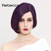 Rebecca 100% Brazilian Virgin Hair Straight Lace Frontal Human Hair Wigs 2016 Summer Colorful Short Bob Women's Wigs(China (Mainland))