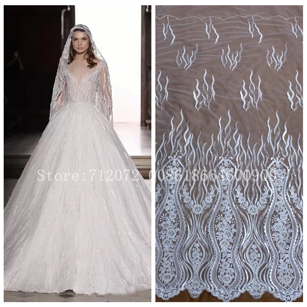 Buy new off white heavy beaded wedding for Wedding dress fabric stores