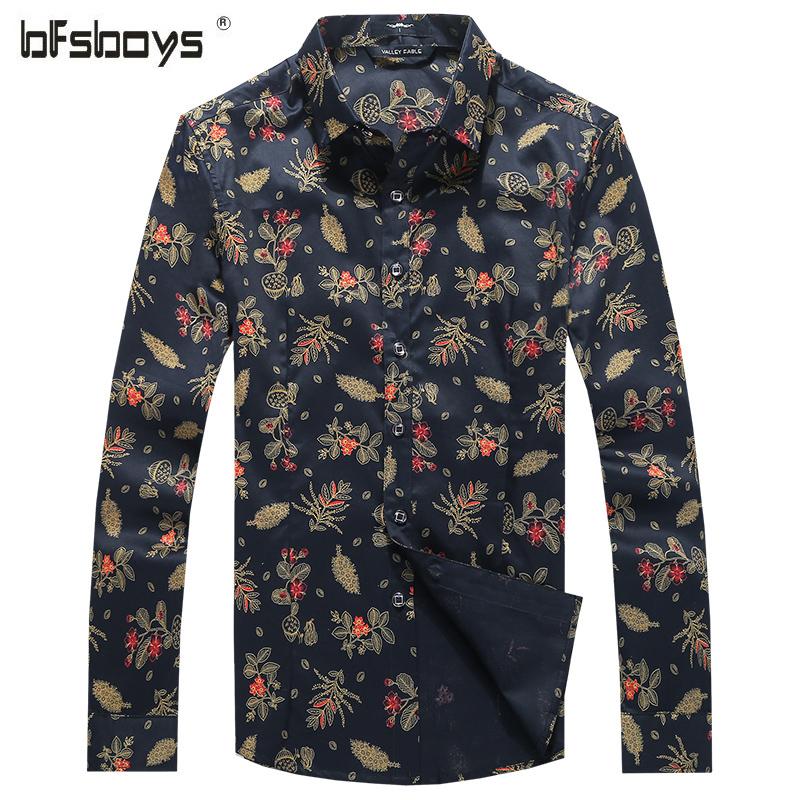 2016 Top Selling Man Casual Shirt Orange Green Long Sleeve Flower Pattern Single Breasted Lapel Man's Clothing 1105(China (Mainland))