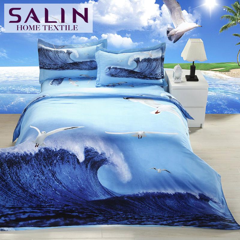 SaLin Romantic Blue 3D Print Sea Bedding Set 4pcs Queen Size Sea Duvet Cover Home Choice Cheap(China (Mainland))