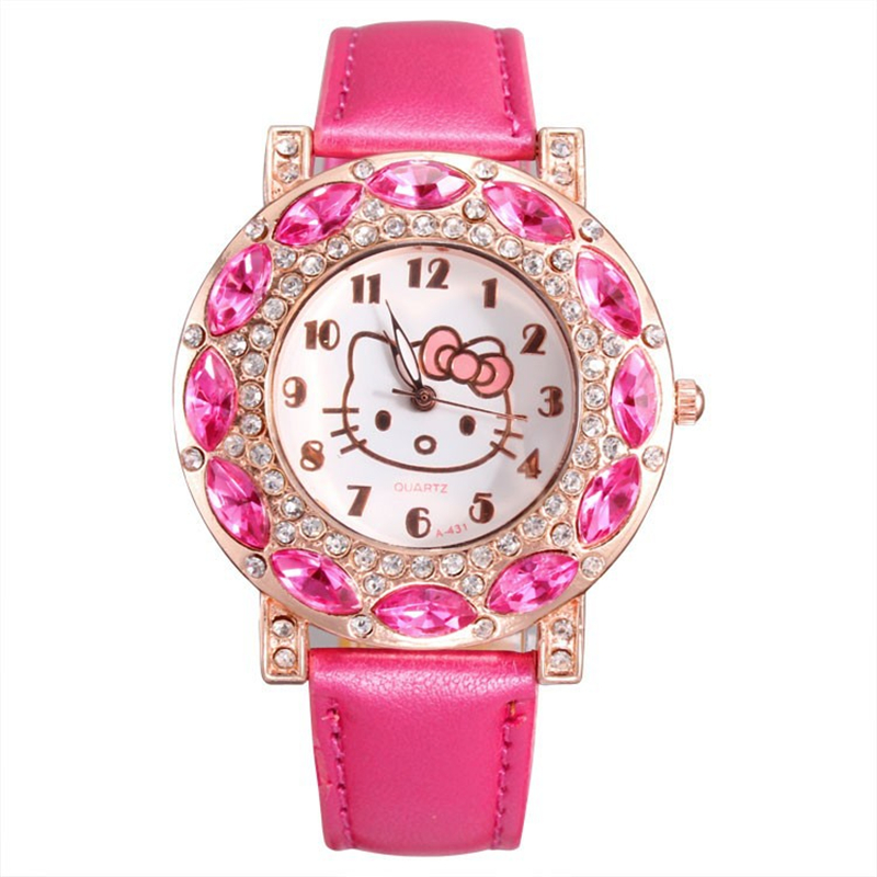 Pink Girl Holiday Watches Hello Kitty Cute Cartoon Crystal Fashion Kid Children Clock Quality Wrist watches relogio gift FD0774(China (Mainland))