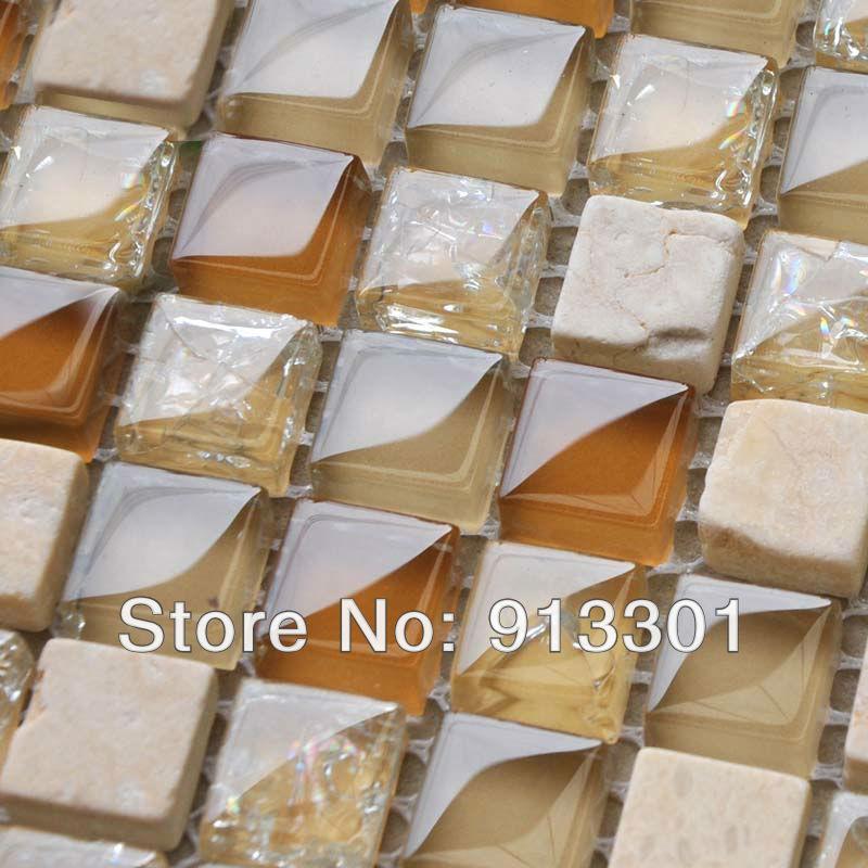 Random Kitchen Tile Patterns: Crystal Glass Tile Backsplash Pattern 3/5 In. Stone Glass Random Blend Mosaic Tiles Discount