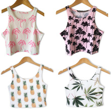 Newest 2015 Fashion Summer Women's Clothes Beach Crop Tops Leaves Pineapple Coconut Printed sexy blouse 6 style Free Shipping(China (Mainland))