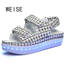 WEISE New LED Light Sandals Female Star Of The Same Paragraph Glow LED Shoes Grid Students Magic Stick Bar KTV Sandals(China (Mainland))