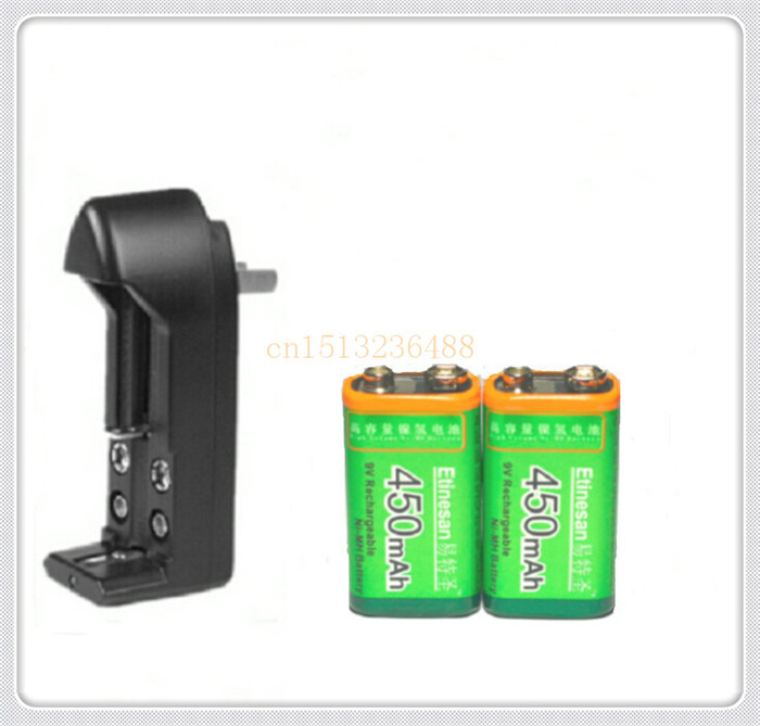 2 PCS/lot Etinesan 9v 450mAh Ni-MH Rechargeable 9 Volt NiMH Battery + Universal 9v AA AAA 18650 14500 CR123A charger set(China (Mainland))