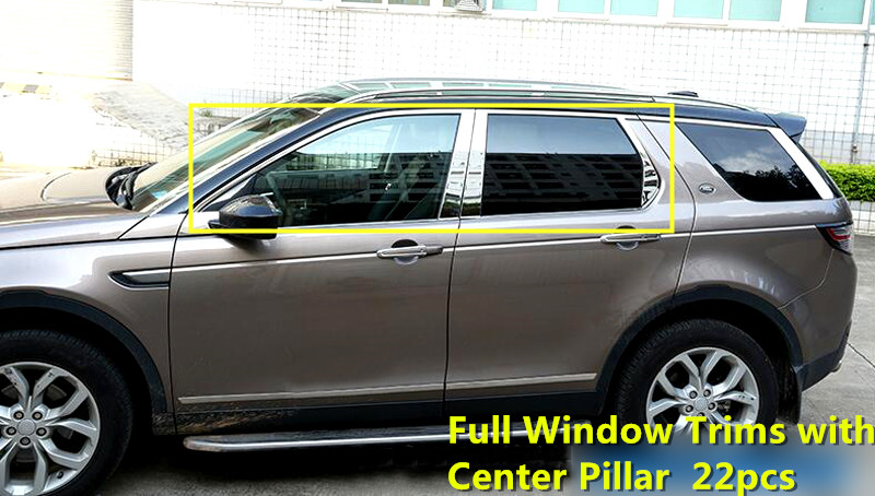 For Land Rover Discovery Sport  2015 2016 Stainless Chrome Full Window Trims Exterior Window Strips Cover Accessories 22pcs Matt<br><br>Aliexpress