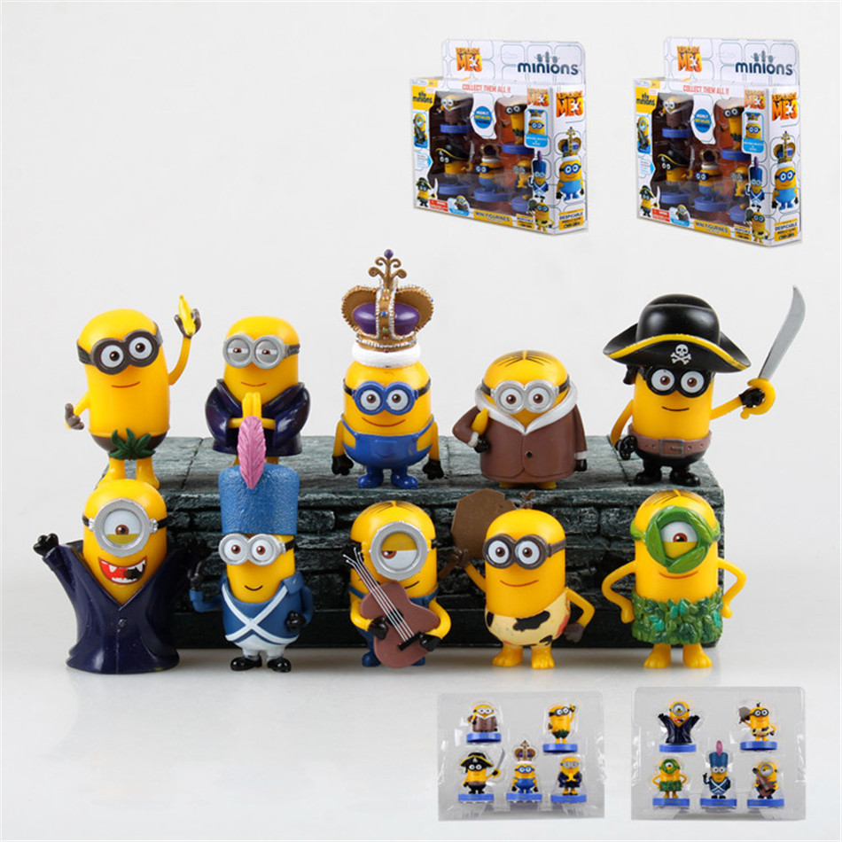 Toy Set 10PCS/2set Minions toys yellow doll 3D eyes peluche Minion despicable me 3 Kid Toys 2Boxed for Children Gift 0327