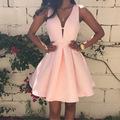 2016 New Fashion Women Sexy Deep V neck Backless Dress Casual Slim Tunic Sleeveless Mini Pink