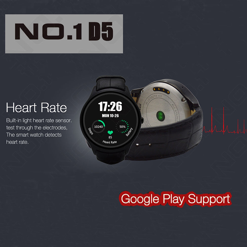 2016 NO.1 D5 Smartwatch 1.3 360x360 Android 4.4 OS 512MB + 4GB MTK6572 Smart Watch with GPS Wifi Bluetooth Heart Rate monitor<br><br>Aliexpress