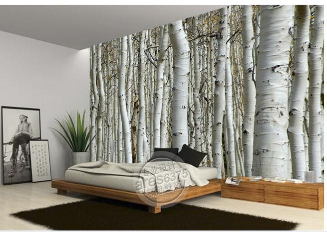 wall sticker wallpaper white birch trees wallpaper mural