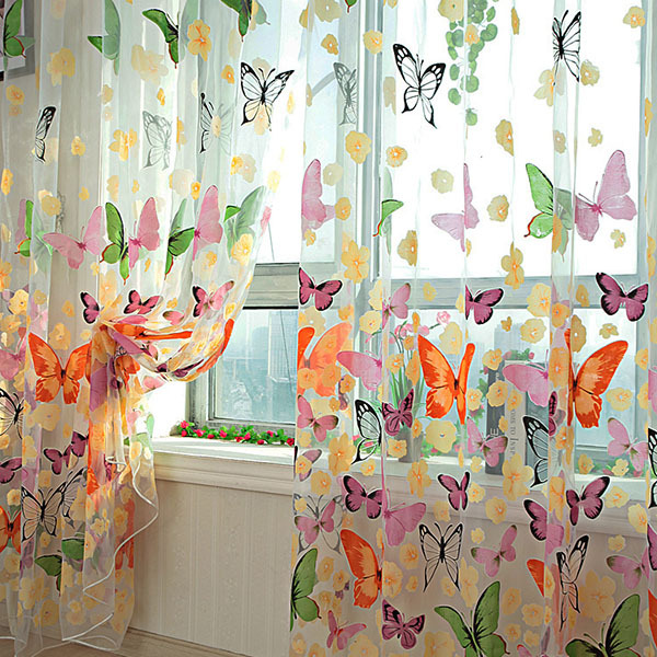 New Hot New Butterfly Printed Tulle Voile Door Window Balcony Sheer Panel Screen Curtain(China (Mainland))