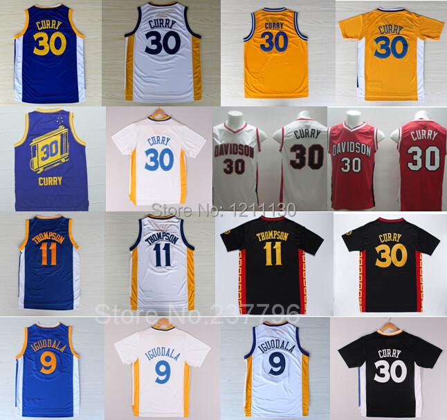 Golden State Davidson Wildcats 30 Stephen Curry Jersey Chinese 11 Klay Thompson Jerseys Basketball 9 Andre Iguodala Blue Yellow(China (Mainland))