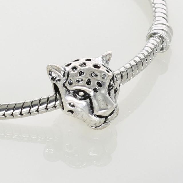 Леопарда глава серебряный подвески пантера старинное серебро бусины для мужчин очарование ...