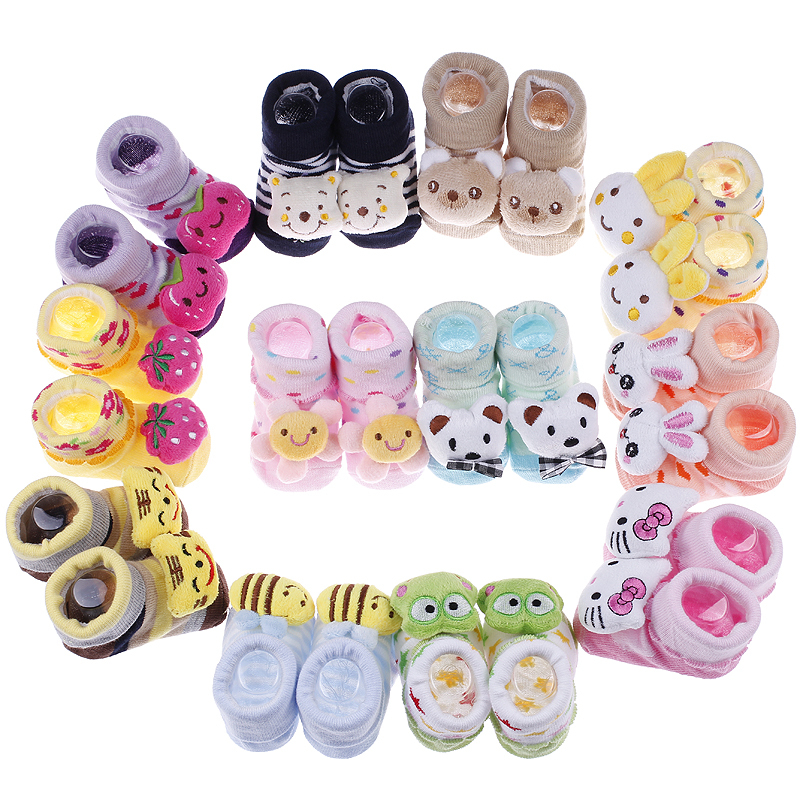 Newborn Baby Indoor Anti-slip Warm Socks Animal Cartoon Shoes For Kids First Walker 0-6month(China (Mainland))