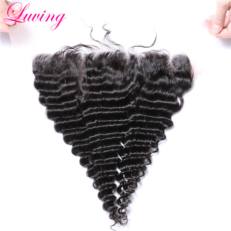 Peruvian Deep Wave Weave Lace Frontal Closure 13x4 Lace Frontal With Baby Hair Double Knots Human Hair Cosure Natural Hair Line(China (Mainland))