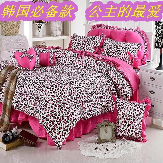 Princess bedding fashion pink leopard print princess bed piece set dress inbedding sets from - Pink cheetah bed set ...