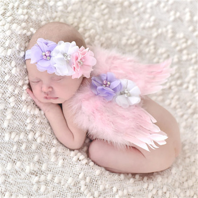 Newborn Pink Angel Feather Wings and pearl flower kids Hairband Hair Band Baby Girl Headband Cute tiara Photography fascinators(China (Mainland))