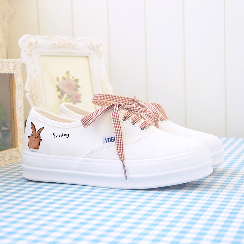 2016 fashion spring autumn white hand-printed shoes Women canvas casual shoes women soft canvas leather shoes sport flats female(China (Mainland))