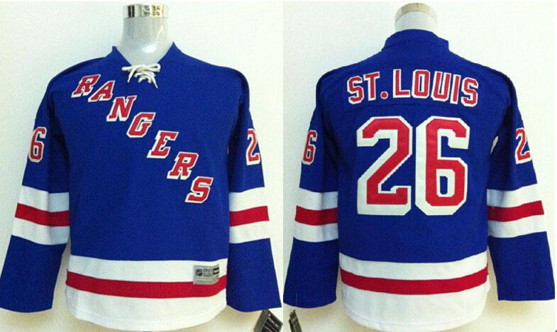 Kids New York Rangers Jerseys Free Shipping Ice Hockey Jersey Low Price #26 Martin St. Louis Blue J0560<br><br>Aliexpress