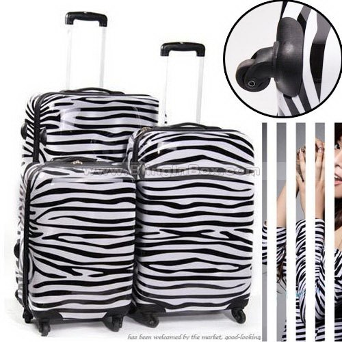 24inch Most popular item! High fashion zebra trolley luggage,ABS PC travel suitcase<br><br>Aliexpress