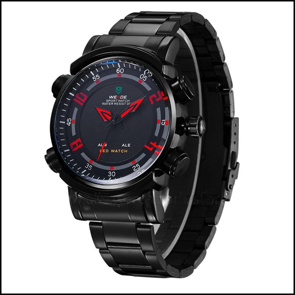 WEIDE Brand New Watch Alarm Dual Time Illuminated Multi-purpose Men Sports Wristwatch Full Stainless Steel Big Face Watch(China (Mainland))