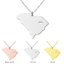 Buy SUTEYI stainless steel South carolina state necklace map pendant heart vintage map jewelry chain accessories wholesale for $1.49 in AliExpress store