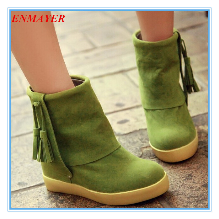ENMAYER Flock New 2015 Spring / Autumn boots for Women shoes Tassel women boots Fashion Med Martin boots girl shoes<br><br>Aliexpress