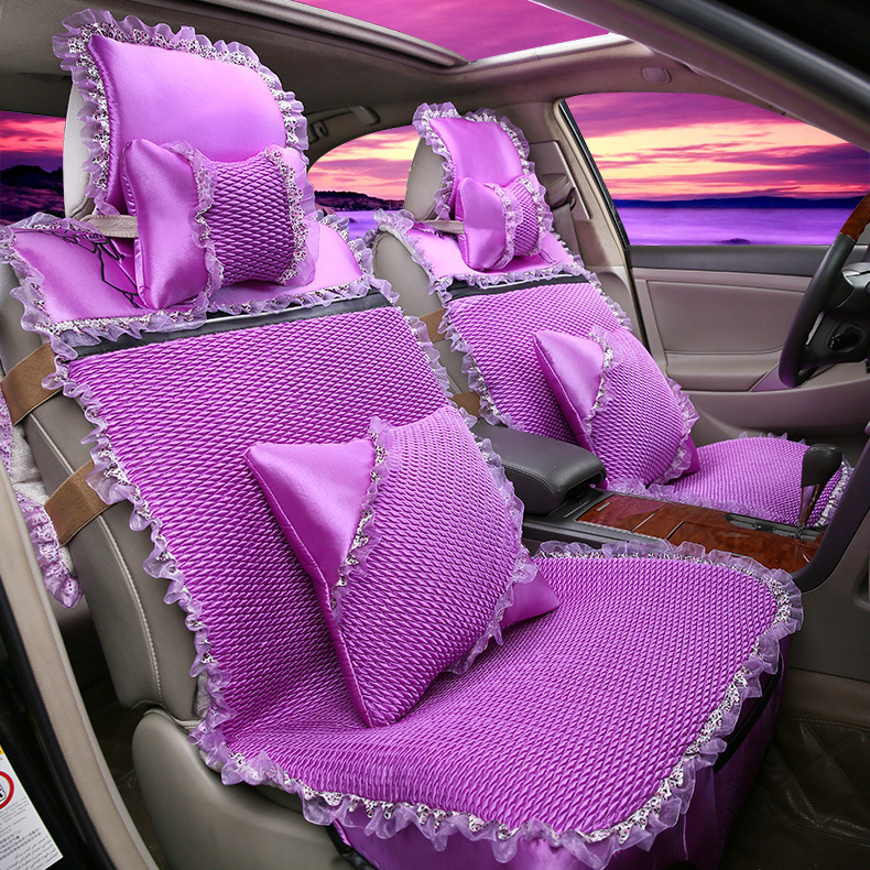 Queen automobile cushion series Women's cute cartoon lace cloth car seat covers new auto interior accessories GFHT(China (Mainland))