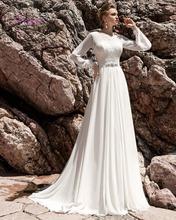 Buy Dreagel New Fashionable O-neck Long Sleeves Beach Wedding Dresses 2017 Delicate Appliques Chiffon Bridal Dress Vestidos de Noiva for $169.99 in AliExpress store