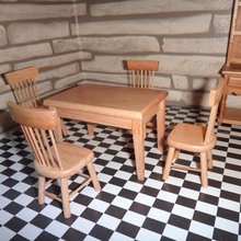 Dining Room Set-Wooden Chair Desk dollhouse furniture 1/12 scale 5pc/set #KT02(China (Mainland))