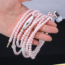 Luxury Bling Diamond earphone Pearl Necklace Chain In-Ear Earphone Stereo With Mic For iphone 6 6s samsung Microphone(China (Mainland))