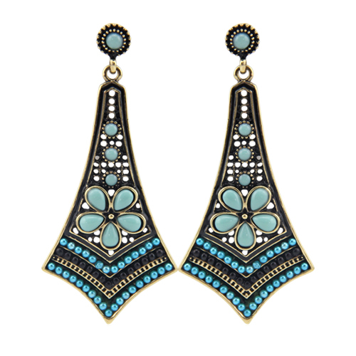 2015New Fashion Women Vintage Multicolor Resins & Beads Flower Long Pendants Statement Drop Earrings Bohemian Earrings For Women(China (Mainland))
