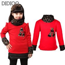 Big kids winter sweaters for girls turtleneck sweater leopard print thicken velvet children tops kids clothes