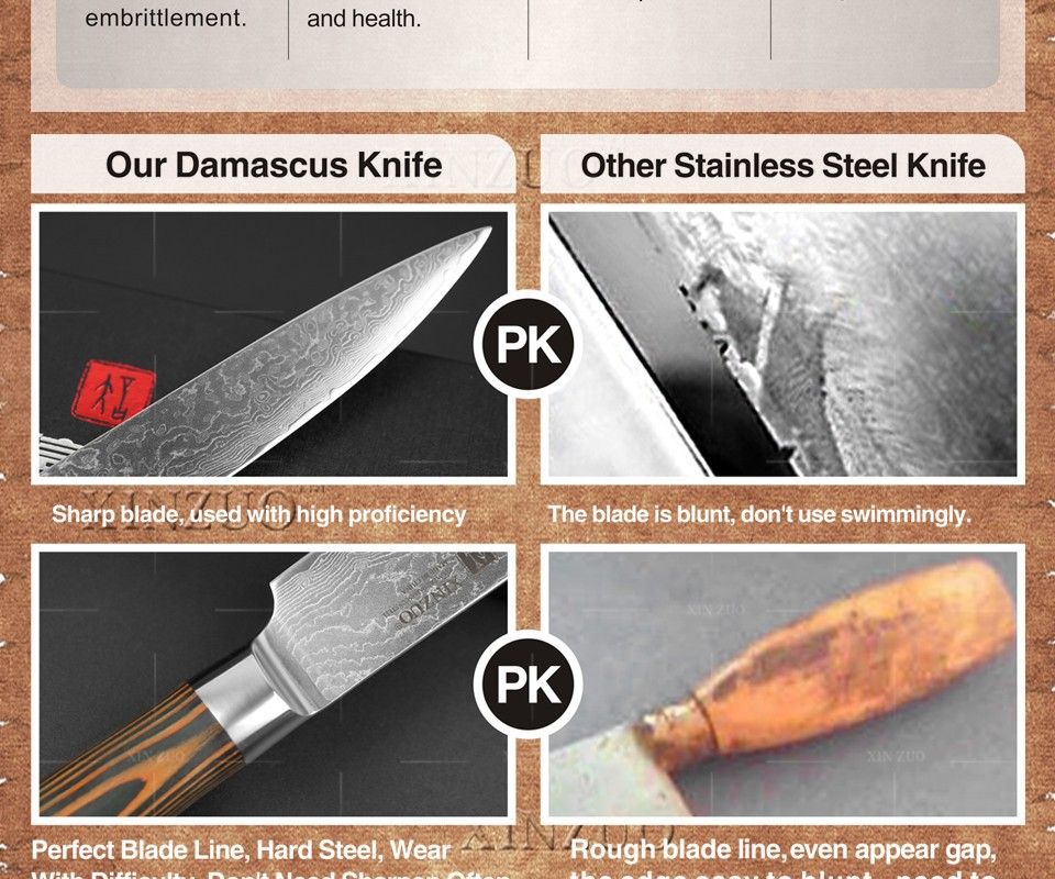 """Buy XINZUO 8 """" inch Sashimi knife 73 layer Damascus kitchen knife Japanese VG10 cleaver knife  Color wood handle free shipping cheap"""