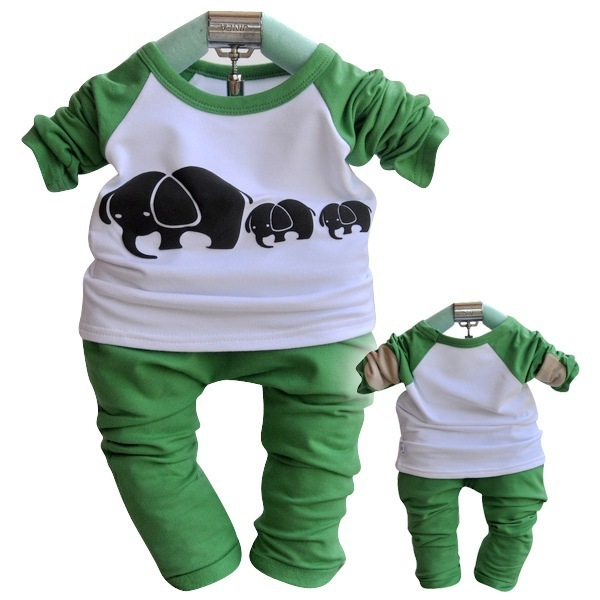 Free/ Drop Shipping, Bulk Price High Quality Baby Wear Long Sleeve Baby Garment, Green / Khaki Kids 2pcs Clothes Sets
