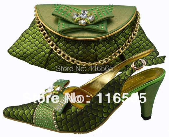 New design lady shoes bags set wedding italian stone 1308-21 GREEN - Jacky's Fashion Store store