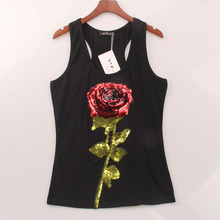 2 Colors Summer Style Tank Top Women Rose Sequins Sequined Vest Camisole Women Tops Fashion Sexy Sport Gym  Racer Back Tank Tops(China (Mainland))