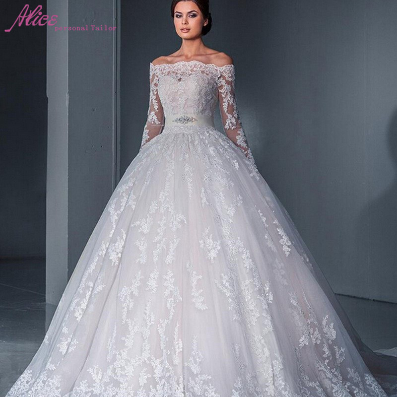 New ball gown princess lace wedding dresses 2016 off the shoulder long