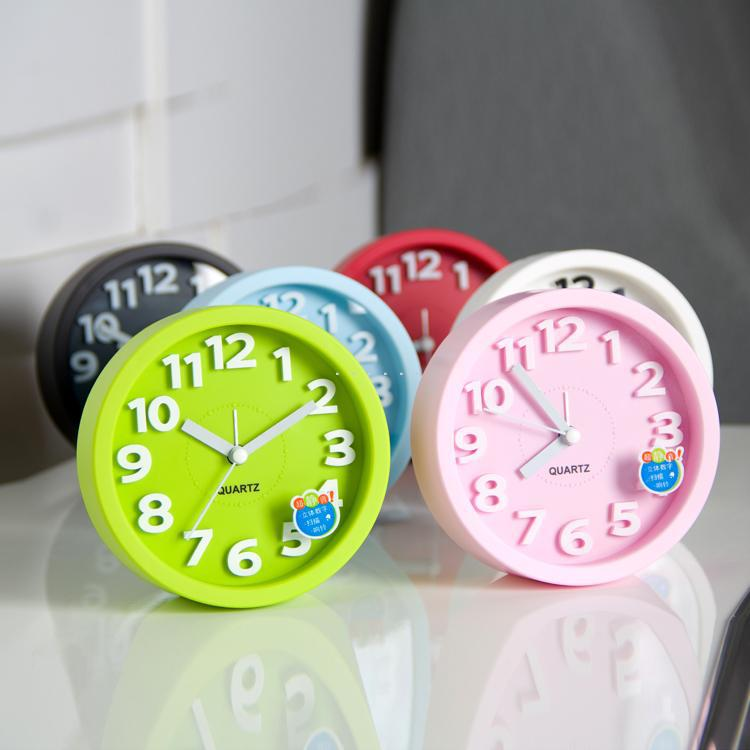 Circle candy color stereo digital desktop clock brief mute lazy small alarm - Focal On Home store