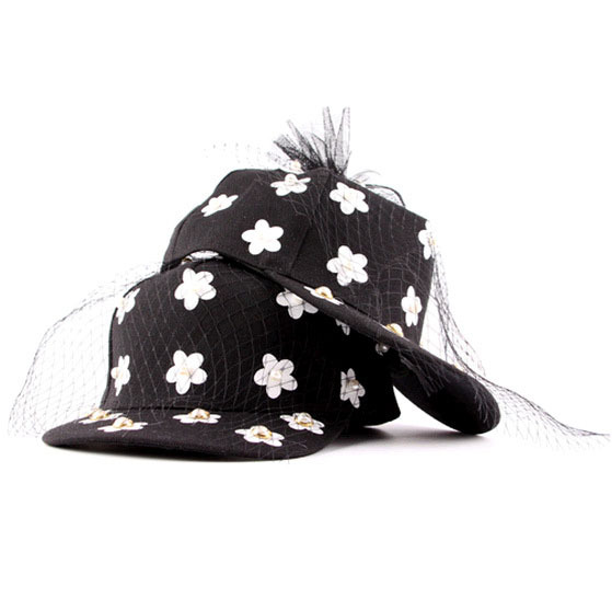 2015 Womens New Fashion Sweet Flower Pearl Black Veil Hats Women Cap Female Mesh Baseball Chapeu Bones Snapbacks - KF Store store