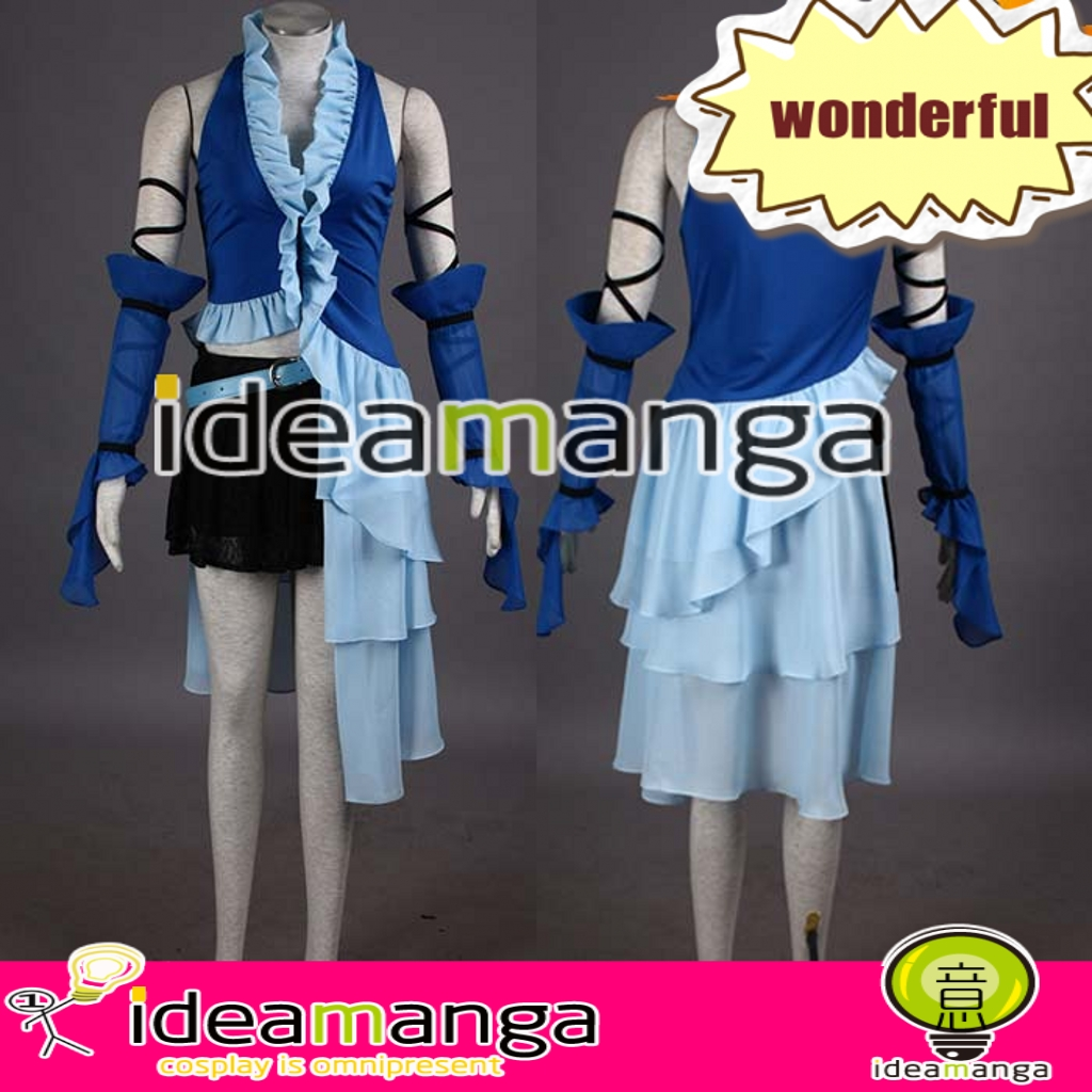 Здесь продается  Hot movie game Anime Final Fantasy VII FF7 FF13 Yuna Lenne Song singers Blue Cosplay Costume Cos Trench Coat Any Size customize  Одежда и аксессуары