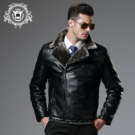 Autumn winter new pilot leather jacket men's clothing brand fashion fur one piece motorcycle PU outerwear cotton-padded / M-XXL - Good Products A store