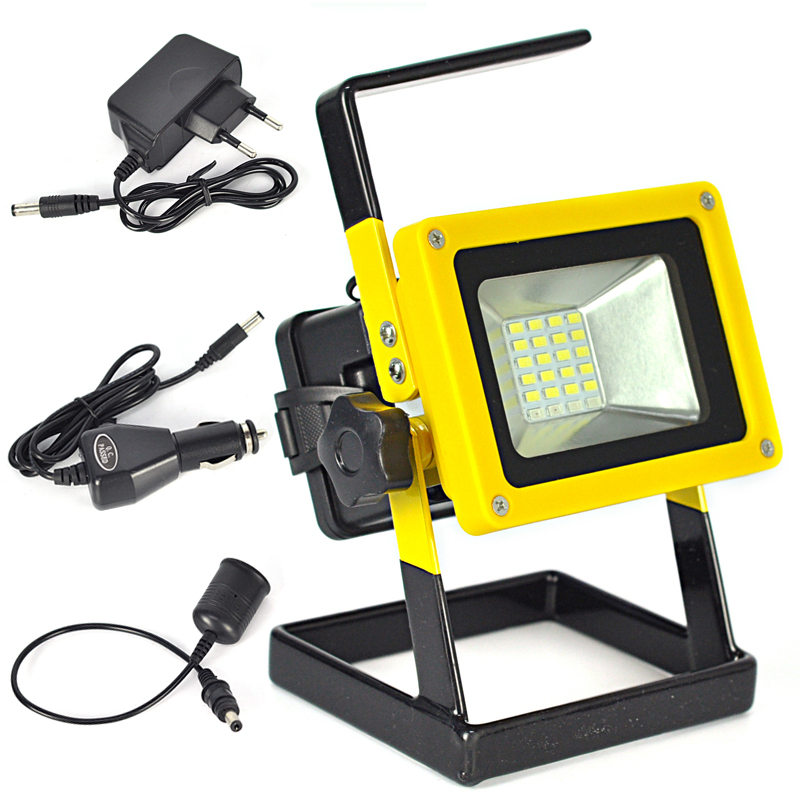 10W Floodlights Rechargeable 24 LED Flood Light Lamp Red White Blue Light for Outdoor Camping Work