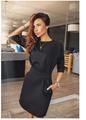 2016 women fall fashion casual mini dress broadcloth solid color short sleeve o neck women dress