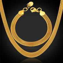 Trendy Bracelet Choker Necklace Set Jewelry For Men '18K' Stamp Stainless Steel / 18K Real Gold Plated Dubai Jewelry Sets GNH738(China (Mainland))