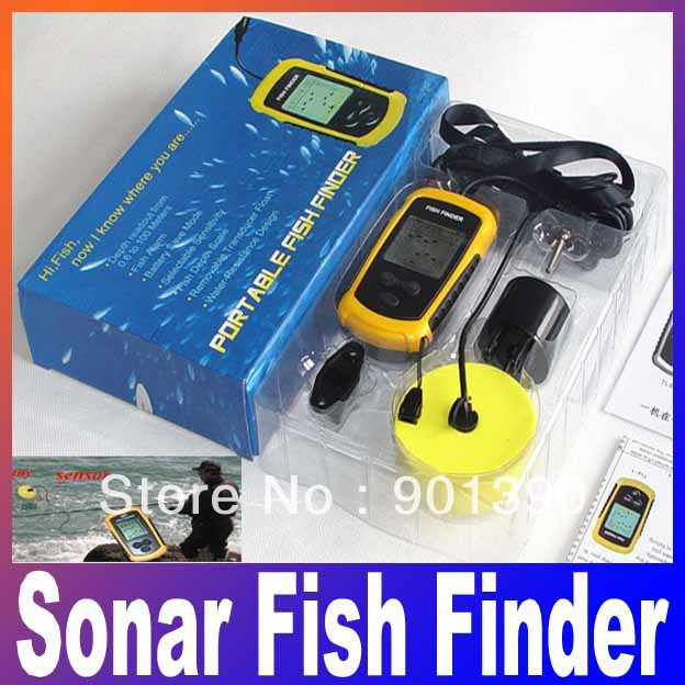 Portable sonar lcd fish depth finder alarm 100m ap iure for Ice fishing depth finder