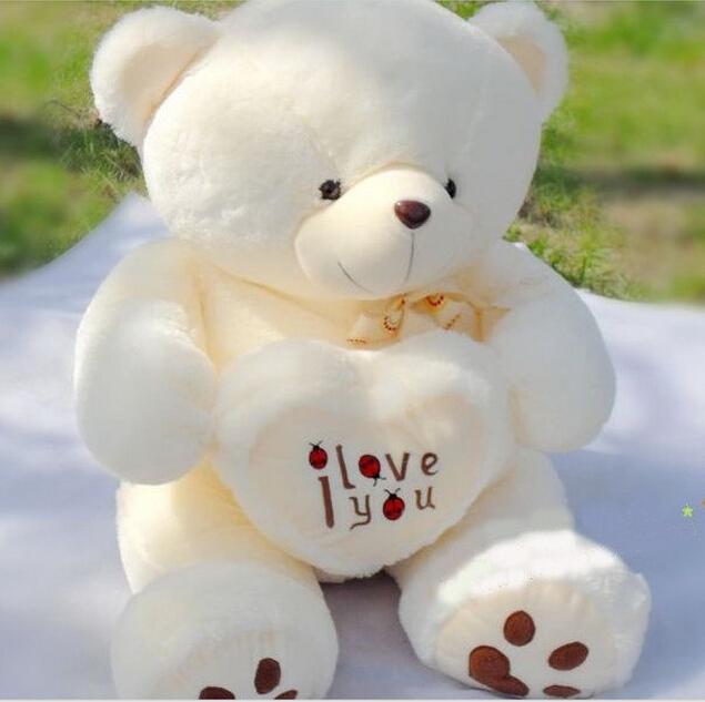 1pc 50cm&70cm Stuffed Plush Toy Holding LOVE Heart Big Plush Teddy Bear Soft Gift for Valentine Day Birthday Girls' Brinquedos(China (Mainland))