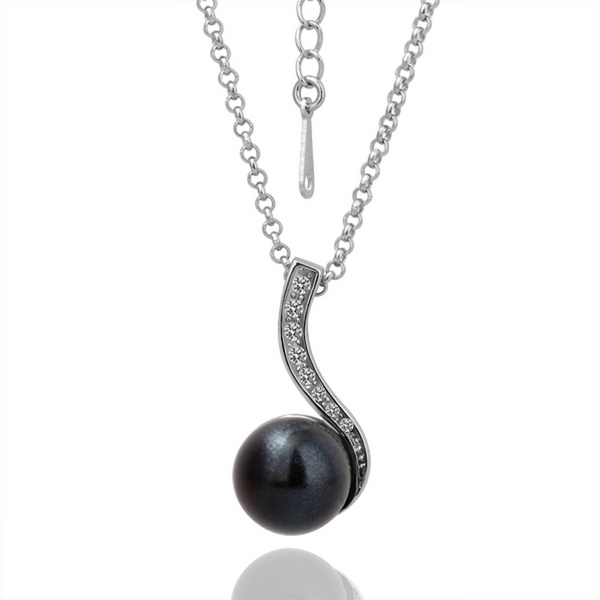 Valentine's day Black Pearl Pendant Necklace 18k Gold Plated Fashion Crystal Woman Perfume Turkish Jewelry 18KGP N047 - hailiu jewelry store