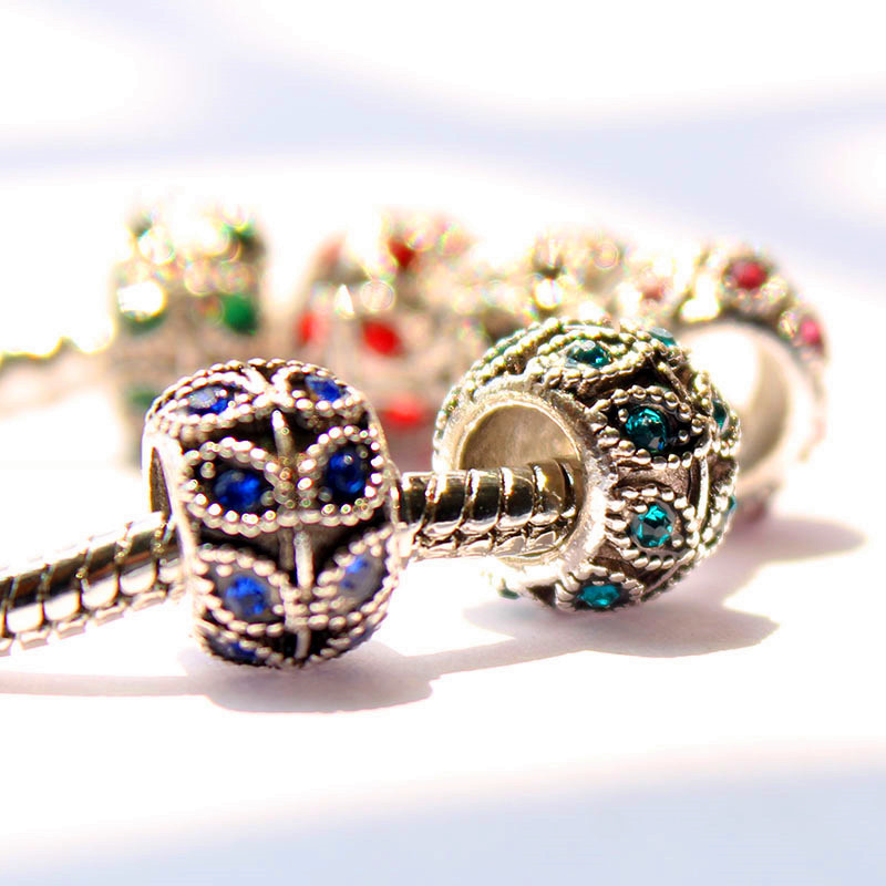 1PC freeshipping DIY inset Crystal charms bead fit Pandora style charms bracelets Jewelry finding s-52(China (Mainland))